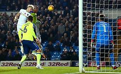 Ezgjan Alioski of Leeds United heads the ball towards goal - Mandatory by-line: Robbie Stephenson/JMP - 31/10/2017 - FOOTBALL - Elland Road - Leeds, England - Leeds United v Derby County - Sky Bet Championship