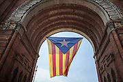 Catalans call for Vote the 9th of November in the Independence Day Celebration. Nearly 1.8 millions people have formed a human V in the city of Barcelona, in a tradicional festivity day, where people claim to vote on split from Spain. Barcelona, 11th September 2014.