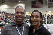 United States Army major general Ronald Clark (Ronald P. Clark), left,  poses with daughter Megan Clark during the National Pole Vault Summit, Friday, Jan. 17, 2020, in Reno, Nev.