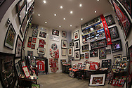 a view Inside a Match Day Arsenal memorabilia store. The Emirates FA cup, 4th round match, Arsenal v Burnley at the Emirates Stadium in London on Saturday 30th January 2016.<br /> pic by John Patrick Fletcher, Andrew Orchard sports photography.