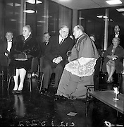 Inauguration of Teilifís Eireann, Montrose..1961..31.12.1961..12.31.1961..31st December 1961..Today saw the inaugeration and official opening of Telifís Éireann. Many dignitaries from the political,religious and entertainment life attended at the ceremony...Image shows Mrs Kathleen Lemass,President DeValera and Archbishop John Charles McQuaid taking their seats for the inaugeration ceremony.