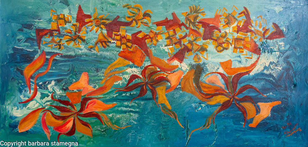 Bright orange and red floating shapes on watery like enamel background with blue and white fluid shades.