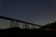 Salisbury Mills, New York - Stars in the night sky above the Moodna Viaduct railroad trestle on Dec. 14, 2012.