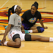 Sisters Chiney Ogwumike, (left), Connecticut Sun and Nneka Ogwumike, Los Angeles Sparks before playing against each other for the fist time in the WNBA during the Connecticut Sun Vs Los Angeles Sparks WNBA regular season game at Mohegan Sun Arena, Uncasville, Connecticut, USA. 3rd July 2014. Photo Tim Clayton