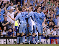Photo. Glyn Thomas. <br /> Coventry City v Brighton and Hove Albion. <br /> Coca Cola Championship. 02/04/2005.<br /> Coventry's Steve Staunton (second from L) celebrates scoring his team's second goal.