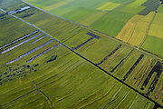 Nederland, Noordoostpolder, Overijssel, 27-08-2013;<br /> Op de grens van oud (beneden) en nieuw land (boven) in de polders,  respectievelijk Weerribben en NOP<br /> On the border between old and new country in the polders.<br /> luchtfoto (toeslag op standaard tarieven);<br /> aerial photo (additional fee required);<br /> copyright foto/photo Siebe Swart.