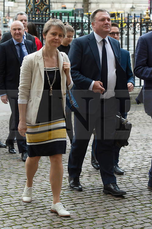 © Licensed to London News Pictures. 20/06/2019. London, UK. Yvette Cooper and Ed Balls attend a Service of Thanksgiving for Lord Haywood at Westminster Abbey. Jeremy Heywood served as Cabinet Secretary from 2012 and Head of the Home Civil Service until shortly before his death in 2018. Photo credit: Ray Tang/LNP