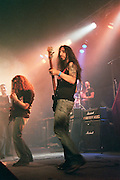 Israel, Tel Aviv, band during a Heavy Metal rock performance, 2 guitarists in the foreground on stage