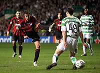 Photo: Paul Thomas.<br /> Glasgow Celtic v AC Milan. UEFA Champions League. Last 16, 1st Leg. 20/02/2007.<br /> <br /> Alberto Gilaedino (11) of Milan has this shot saved.