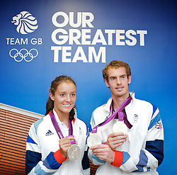 Andy Murray and Laura Robson <br /> SILVER medalists in Olympics London 2012 Tennis Mixed Doubles and GOLD Medalist in Men's Singles <br /> Post competition Press Conference at Team GB House, Stratford, London, Great Britain <br /> 5th August 2012 <br /> <br /> Andy Murray <br /> and<br /> Laura Robson <br /> <br /> <br /> Photograph by Elliott Franks