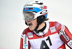 26.01.2016, Planai, Schladming, AUT, FIS Weltcup Ski Alpin, Schladming, Slalom, Herren, 2. Durchgang, im Bild Henrik Kristoffersen (NOR) // Henrik Kristoffersen of Norway reacts after his 2nd run of men's Slalom Race of Schladming FIS Ski Alpine World Cup at the Planai in Schladming, Austria on 2016/01/26. EXPA Pictures © 2016, PhotoCredit: EXPA/ Erich Spiess