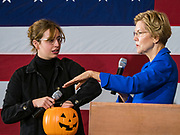 21 OCTOBER 2019 - DES MOINES, IOWA: US Senator ELIZABETH WARREN (D-MA) pulls a student's name for a Q&A with about 500 students during an assembly at Roosevelt High School in Des Moines. Sen. Warren talked to students about her journey from childhood in Oklohoma to running for the US Presidency. Sen. Warren is campaigning to be the Democratic nominee for the US presidency in Iowa this week. Iowa traditionally hosts the the first selection event of the presidential election cycle. The Iowa Caucuses will be on Feb. 3, 2020.                   PHOTO BY JACK KURTZ