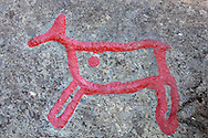 Rock carvings of reindeer; Rangifer tarandus; Glösa, Jämtland, Sweden
