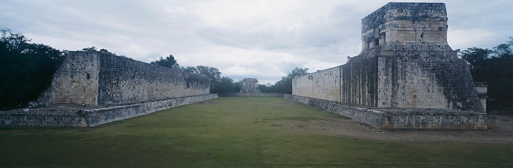 Mayan Ball Court in Chichen Itza with no people.