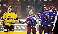 Ishockey Hokey<br /> GET - ligaen<br /> Jordal Amfi 29.12.12<br /> Vålerenga VIF - Storhamar<br /> Kick-off til jubileumssesongen 2013 med Vålerenga Idrettsforening<br /> Tyler Donati feirer mål<br /> Foto: Eirik Førde