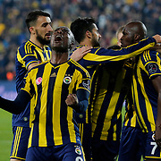 Fenerbahce's Moussa Sow (R) celebrate his goal with team mate during their Turkish superleague soccer derby Fenerbahce between Besiktas at the Sukru Saracaoglu stadium in Istanbul Turkey on Sunday 22 March 2015. Photo by Aykut AKICI/TURKPIX