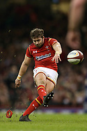 Leigh Halfpenny of Wales kicks a conversion.RBS Six Nations 2017 international rugby, Wales v Ireland at the Principality Stadium in Cardiff , South Wales on Friday 10th March 2017.  pic by Andrew Orchard, Andrew Orchard sports photography