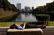 A salaryman takes a nap in the public grounds of the Imperial Palace, Tokyo, Japan