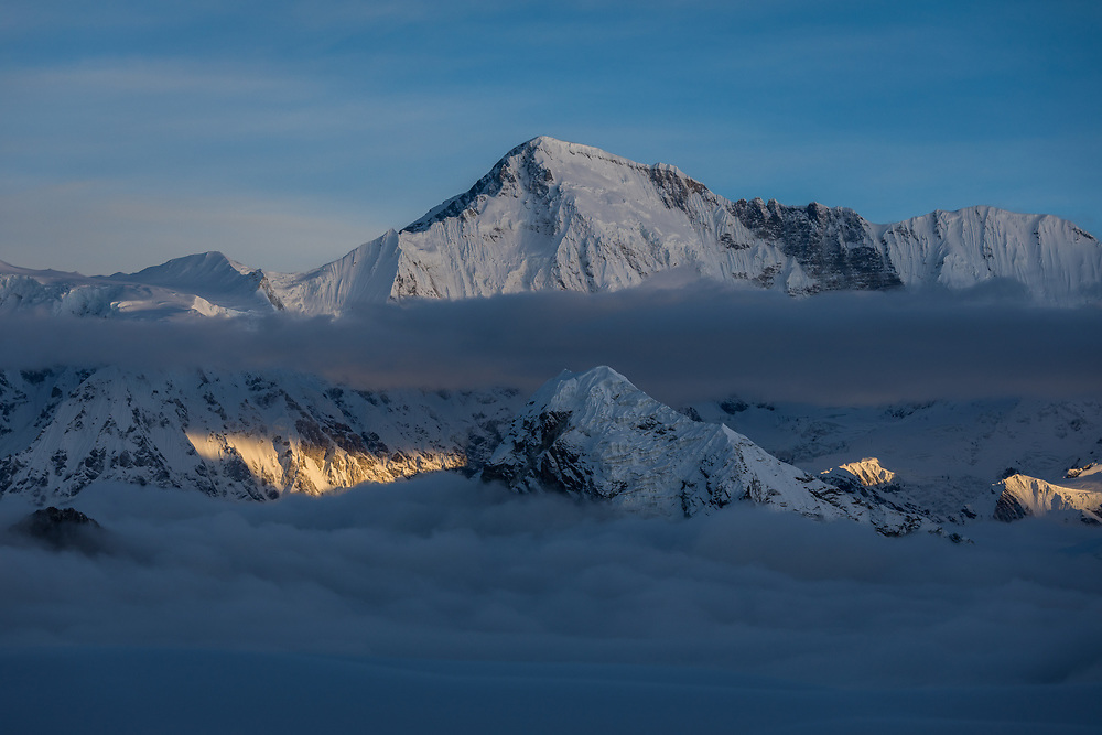 Cho Oyu, 8188m at sunrise from 5600m on Cholatse in Nepal
