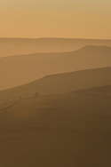 Receding hillsides, early evening dusk, nr Hathersage, Peak District National Park