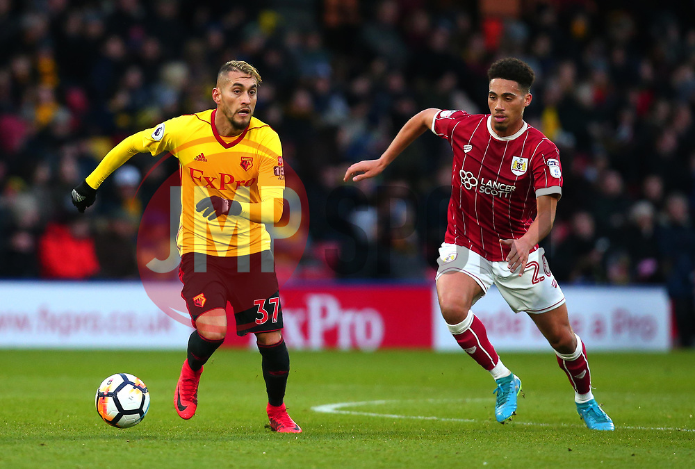 Roberto Pereyra of Watford takes on Zak Vyner of Bristol City - Mandatory by-line: Robbie Stephenson/JMP - 06/01/2018 - FOOTBALL - Vicarage Road - Watford, England - Watford v Bristol City - Emirates FA Cup third round proper