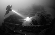 Divers on the wreck of the clipper ship, Smyrna, which lies in over 55 metres of water in the English Channel