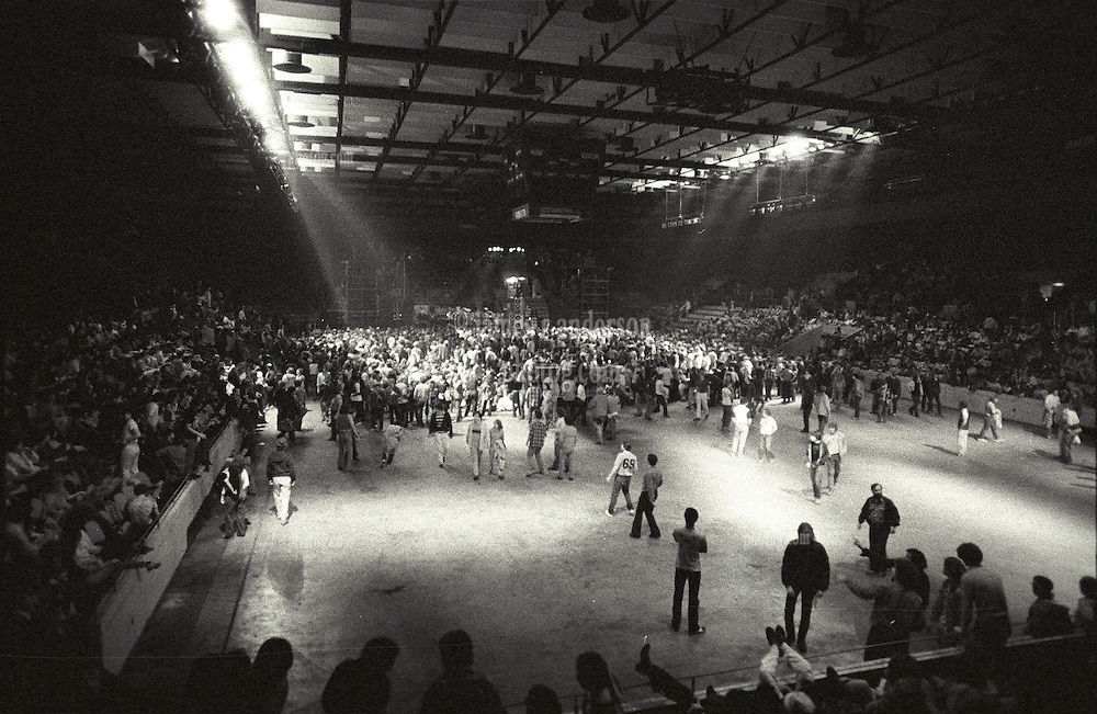 Inside The Springfield Civic Center just before The Grateful Dead perform Live in Concert. Audience, Hall, and the Stage & The FM Productions PA, Sound System, in the distance
