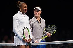 Venus Williams and Caroline Wozniacki at the 2018 Champions Battle at Parken, Copenhagen, Denmark, 30-04-2018. Photo Credit: Katja Boll/EVENTMEDIA.