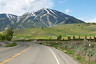 Sun Valley Ski Mountain seen from Trail Creek Rd on a summer morning