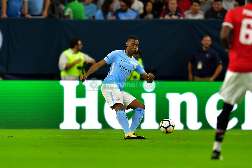 Manchester City forward Gabriel Jesus (33) controls the ball during the International Champions Cup match between Manchester United and Manchester City at NRG Stadium in Houston, Texas