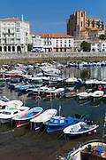 Seaside resort of Castro Urdiales in Northern Spain with the 13th Century Iglesia de Santa Maria