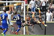 Hull City Striker Adama Diomande (20) and Hull City striker Abel Hernandez (9) go for over head kick to score goal given as by Hull City Striker Adama Diomande (20) to go1-0 up during the Premier League match between Hull City and Leicester City at the KCOM Stadium, Kingston upon Hull, England on 13 August 2016. Photo by Ian Lyall.