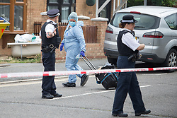 © Licensed to London News Pictures.  24/07/2021. London, UK. Police guard a crime scene after a man in his 40s was found with injures at before midnight on Friday, 23 July in Dagenham, east London. Despite the best efforts of the emergency services, he was pronounced dead at the scene. A 38-year-old man was arrested at the scene on suspicion of murder Photo credit: Marcin Nowak/LNP