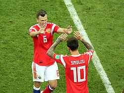 July 7, 2018 - Sochi, Russia - July 07, 2018, Sochi, FIFA World Cup 2018, the playoff round. 1/4 finals of the World Cup. Football match Russia - Croatia at the stadium Fisht. Player of the national team Denis Cheryshev (6), Fedor Smolov  (Credit Image: © Russian Look via ZUMA Wire)