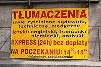 Shop sign for translation services in Krakow Poland
