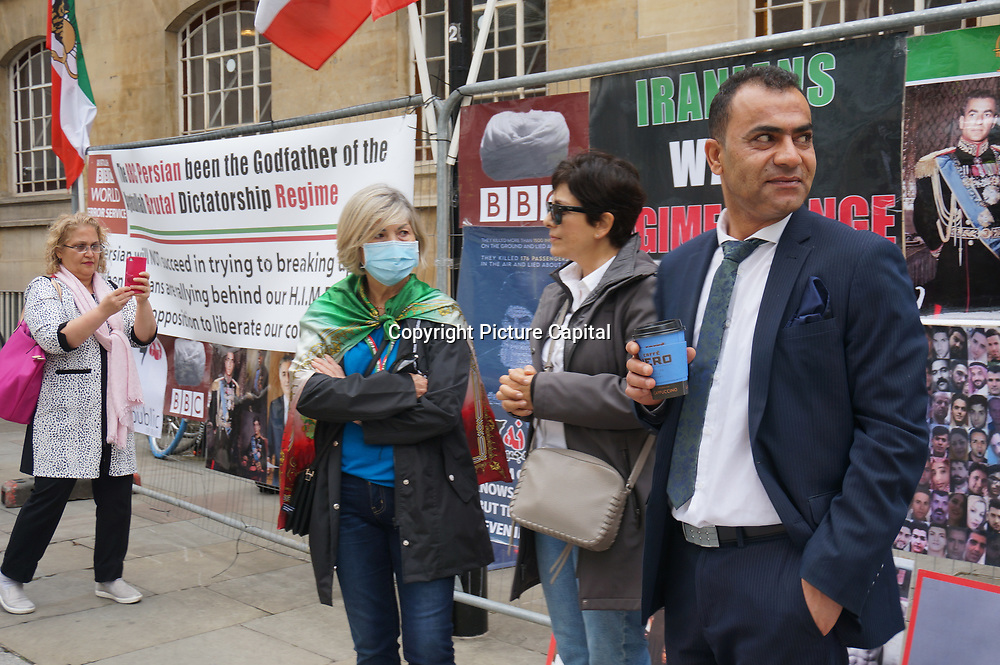 Iranian anti-government demand BBC Persian stop supporting BBC Persian . Protestors they call it regime in front of BBC on 2019-09-10, London, UK.