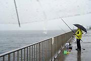rainy day fishing Yokosuka Japan