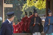 Priests in a procession at Meiji Shrine located in Shibuya, Tokyo, Ceremony to commemorate Emperor Meiji's birthday on November 3rd