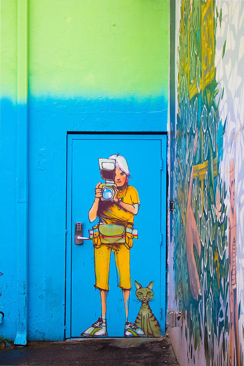 Life-size painting of a female photographer and a large cat at Miami's Wynwood Walls outdoor mural museum.