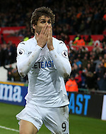 Fernando Llorente of Swansea city © celebrates after he scores his teams 3rd goal to make it 3-2.   Premier league match, Swansea city v Burnley at the Liberty Stadium in Swansea, South Wales on Saturday 4th March 2017.<br /> pic by Andrew Orchard, Andrew Orchard sports photography.