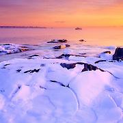 Ice on the coast. Rockland, Maine