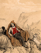 A young goatherd in the French Pyrenees, accompanied by his dog, keeps an eye on his flock as they browse on a hillside. Tinted lithograph from 'Nouvelles Suite de Costumes des Pyrenees' (Paris, c1840).