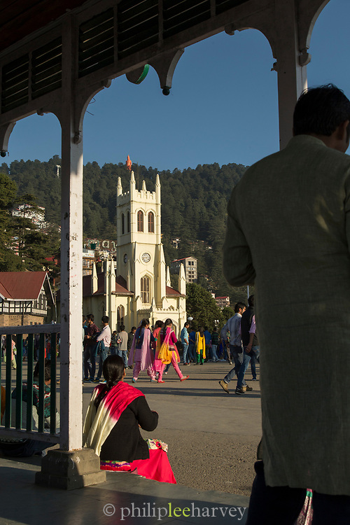 View of crowd in front of Christ Church, Shimla, India