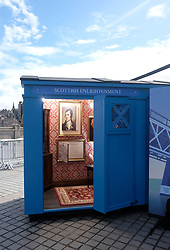 """Moments In Time Exhibition, Friday 31st March 2017<br />  <br /> Edinburgh International Science Festival exhibition """"Moments In Time"""" features four Scottish police boxes, each focusing on a key moment: the Enlightenment, the industrial revolution, the information age and 101 Scottish inventions. <br /> <br /> Curator Dr Sarah Thomas poses as 18th-century poet and socialite Alison Cockburn with Border Collie """"Bullet"""" in the Enlightenment box. <br /> <br /> (c) Alex Todd 