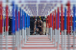 April 27, 2018 - Philadelphia, Pennsylvania, U.S - SHYHEIM WRIGHT (22) from Pittsburg prepares to compete in the College Men's Shuttle Hurdles 4x110m at Franklin Field in Philadelphia, Pennsylvania. (Credit Image: © Amy Sanderson via ZUMA Wire)