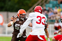 KELOWNA, BC - AUGUST 17:  Liam HAMLYN #50 of Okanagan Sun blocks a player of the Westshore Rebels during the first quarter at the Apple Bowl on August 17, 2019 in Kelowna, Canada. (Photo by Marissa Baecker/Shoot the Breeze)