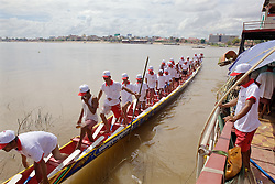 Dugout Canoe Practicing for Cambodia's Water Festival