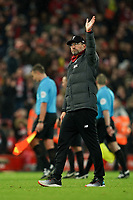 Football - 2019 / 2020 Premier League - Liverpool vs. Southampton<br /> <br /> Liverpool manager Jürgen Klopp waves to the fans in the kop<br /> <br /> Colorsport / Terry Donnelly