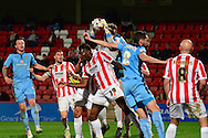 Cheltenham goalkeeper Trevor Carson claims the ball during the Sky Bet League 2 match between Cheltenham Town and Cambridge United at Whaddon Road, Cheltenham, England on 14 April 2015. Photo by Alan Franklin.