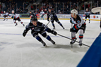 KELOWNA, BC - JANUARY 3:  Riley Gannon #28 of the Victoria Royals stick checks Trevor Wong #8 of the Kelowna Rockets during first period at Prospera Place on January 3, 2020 in Kelowna, Canada. (Photo by Marissa Baecker/Shoot the Breeze)